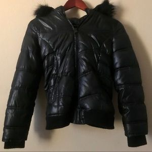 JUSTICE Black Puffer Coat with Faux Fur Trim